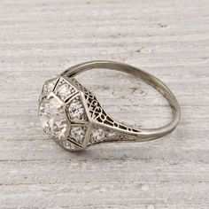 Art Deco Carat Old European Cut Diamond Engagement Ring Bishop Perle - jewelry site with amazing vintage/antique jewelry including engagement rings like this one. Antique Wedding Rings, Antique Rings, Antique Jewelry, Vintage Jewelry, Filigree Jewelry, Vintage Necklaces, 1920s Engagement Ring, Diamond Engagement Rings, 1920s Ring