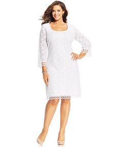 2ebe093fb6e4a Alfani Plus Size Three-Quarter-Sleeve Lace Dress Evening Dresses Plus Size