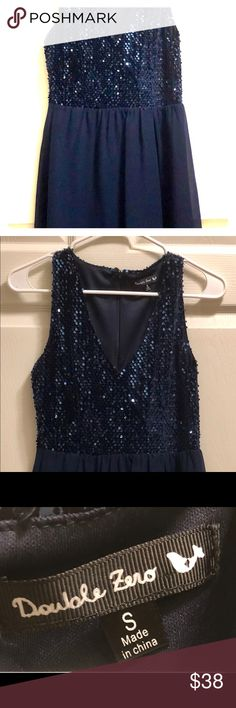 Double Zero (S) Navy Party Dress Sequined Top! Fun V-Neck, Sequins on top half of front and back, a sheer look on bottom (but over satin fabric for coverage, of course!) Navy. Just a fun little number. Would be great for a sorority/fraternity event or even a school dance or Holiday party. Double Zero Dresses