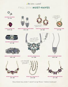 Fall 2014 Must Haves!  Dress up any outfit with these amazing pieces from my boutique! https://www.chloeandisabel.com/boutique/ableuboutique