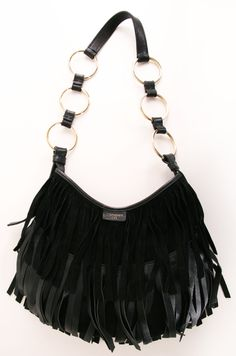 Yves Saint Laurent Boheme Black Fringe Shoulder Bag <3 #YSL