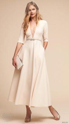 bhldn spring 2018 bridal half sleeves deep v neck simple clean elegant classy ankle length short wedding dress with pockets (14) mv -- BHLDN Spring 2018 Wedding Dresses | Wedding Inspirasi #wedding #weddings #bridal #weddingdress #bride ~