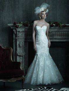 Allure Bridals : Couture Collection : Style C205 : Available colours : White/Silver, Ivory/Silver