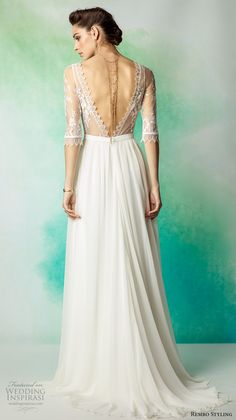 rembo styling 2017 bridal lace half sleeves illusion bateau scoop neck heavily embellished bodice bohemian romantic column modified a line wedding dress low back sweep train (lanza) bv