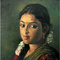 25 Beautiful Rural Indian Women Paintings by Tamilnadu artist ilayaraja