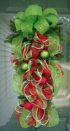 Christmas Teardrop/Swag.  Custom Wreath by Deco Galore Wreaths. Check us out on Facebook.