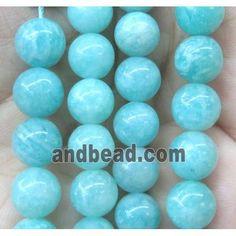 Amazonite Beads, round, green, AAA-grade (GMLB2535-8MM) approx 8mm dia