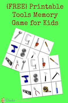 Free Printable Tools Memory Game