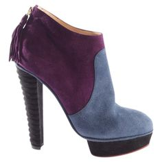 Cloth ankle boots Charlotte Olympia Multicolour size 39 EU in Cloth - 9006127 Charlotte Olympia, Leather Cover, Luxury Consignment, Suede Leather, Calves, Peep Toe, Ankle Boots, Legs, Stuff To Buy