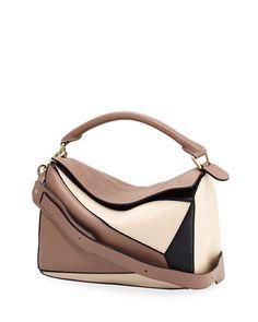 0b2ad04070 Loewe Puzzle Colorblock Leather Satchel Bag