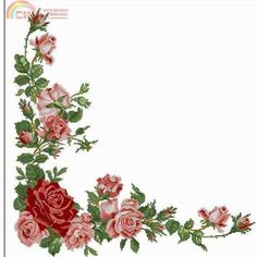 Rose Tablecloth From Le idee di Susanna 263 Cross Stitch Angels, Cross Stitch Rose, Cross Stitch Borders, Cross Stitch Flowers, Cross Stitching, Cross Stitch Patterns, Vintage Flowers, Flower Art, Crafts To Make