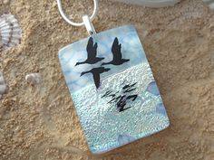 Fused Dichroic Glass Jewelry Geese  Pendant  Dichroic by ccvalenzo, $28.00