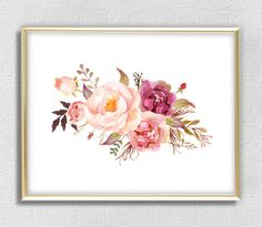 Gfrden pink peony print watercolor flowers print flower wall