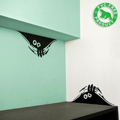 Haha this is totally something I would have in my house- curious monster wall decals Vinyl Wall Stickers, Wall Decals, Wall Art, Mural Art, Do It Yourself Design, Monster Stickers, Holiday Icon, Wall Tattoo, Vinyl Crafts