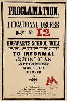 Decreto Nº12 de Dolores Umbridge en Hogwarts...