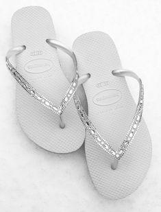 80b5d19a704a8d Havaianas Slim White Crystal Rhinestone Beach Wedding Flip Flops Blushing  Bride Custom w  Swarovski jewels Beach Bridal Bling Reception Shoe