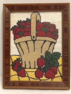 "Completed Needlepoint Strawberries in a Basket Framed 9 x 11.5"" Vintage"