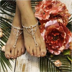 SOMETHING SPECIAL wedding barefoot sandals - rose gold