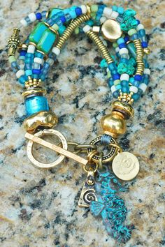 Gorgeous Turquoise, Blue Glass, Gold and Copper Seahorse Charm Bracelet