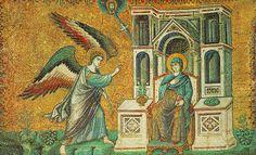 Pietro Cavallini, La Anunciación, h.1291. Mosaico de Santa María in Trastévere. -Pintura Italiana SS.XIII-XIV. El Duecento en Roma.