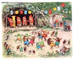 Fritz Baumgarten - Sommerfest im Märchenwald Baumgarten, Old Children's Books, Elves And Fairies, Illustrations And Posters, Vintage Illustrations, Woodland Creatures, Watercolor Animals, Children's Book Illustration, Faeries
