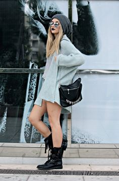 combat boots with a loose cardigan and a beanie~ nice berry lips too :3 #outfits