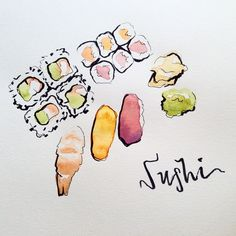 """""""Looking forward to lunch today @koomawc! Luckily, time for a quick little doodle before I go. #art #illustration #watercolors #ink #sushi #handlettering…"""""""