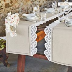 Canetta Rome: the Mani di Fata embroidery store really exists and offers wonderful collections! Dining Table Runners, Quilted Table Runners, Embroidery Store, Concrete Crafts, Cross Stitch Books, Table Runner Pattern, Vintage Textiles, Table Covers, Table Linens