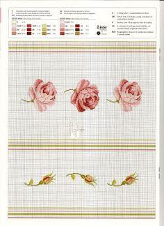 almofada em ponto cruz com gráfico - rosas