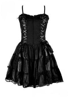Black Silk & Net Gothic Roses Corset Dress