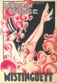 Vintage Poster - mistinguett moulin rouge - Paris - Showgirl - Cabaret - Burlesque