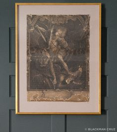Antique Print of Archangel Saint Michael: 19th c, Mexico, titled and signed in Latin Laid down on linen, paper matte with gold leafed frame – Blackman Cruz