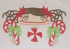 Candy Cane Cutie Christmas Shirt - Machine Appliqué by RockintheTutu www.etsy.com/shop/rockinthetutu #rockinthetutu #candycanecutieshirt #christmasshirt