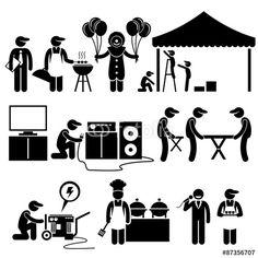 Vektor: Celebration Party Festival Event Services Stick Figure Pictogram Icons