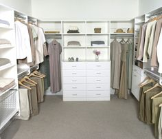 """A simple, yet realistic, closet design.  """"His"""" on one side, """"her's"""" on another.  (Or, maybe all her's.)  :)"""