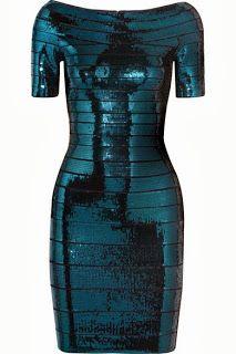 Herve Leger. Short sleeved dress. Shiny.