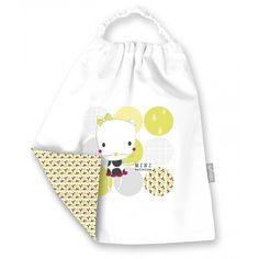 Bavoir bébé élastiqué coton bio blanc doublé d'imprimé Pois fleurs, 'Mini ballerine' by Minizabi