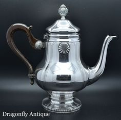 IMPRESSIVE Antique Silver Plated Decorative French Teapot Coffee Pot