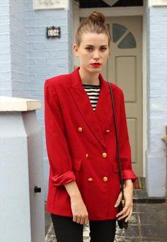 Vintage Red Oversized Blazer