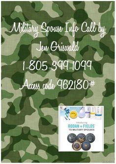 Military info call for Rodan and Fields. Call # has changed to 641-715-3669 same code https://courtneykirkland.myrandf.biz