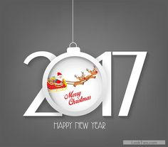 Great 2017 vector with ball inside of it  Santa Claus illustration and dears.
