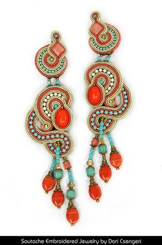 Soutache Embroidery made the way for a genre of hand made jewelry that is incredibly creative as well as fun and fashionable. This craft originated with Dori Csengeri Soutache Tutorial, Soutache Necklace, Statement Earrings, Handcrafted Jewelry, Jewelry Stores, Jewelry Collection, Beaded Jewelry, Jewelery, Creations