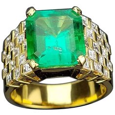 Carat Colombian Emerald and Diamond Unisex Ring Diamond Rings For Sale, Diamond Solitaire Rings, Diamond Engagement Rings, Emerald Jewelry, Diamond Jewelry, Jewelry Rings, Emerald Rings, Jewellery, Emerald Cut