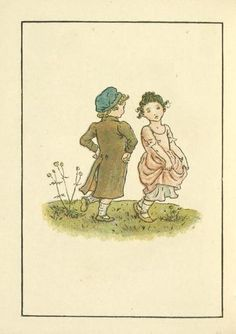 Two Children Dancing. By Kate Greenaway. From Kate Greenaway's Almanack for 1892.