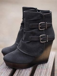 4258e6067f Winter Zipper Ankle High Thick Heels Comfortable Boots Casual Shoes, Wedge  Shoes Outfits, Shoes