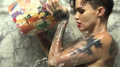 """Break Free - Ruby Rose. She's obviously beautiful either way but the """"man end result"""" is more than beautiful; it's mesmerizing and extremely appealing."""