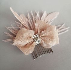 Image of Blush Lace Rhinestone Bow and Feather Comb