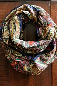 Autumn Paisley Infinity Scarf with Cobalt Blue Trim, Chunky Scarf, Oversized scarf. $32.00, via Etsy.