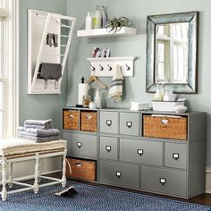 Shop Zinc Framed Mirror, Abbeville Large 5-Drawer Stacking Cabinet, Abbeville 1-Drawer Cabinet, Abbeville Open Shelf with Basket, Dorchester 2-Seat Bench and more