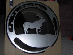 Hand etched moose mirror